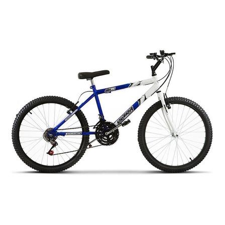 Bicicleta  de passeio Ultra Bikes Bike Aro 24 bicolor 18 marchas aro 24 18v freios v-brakes cor azul/branco