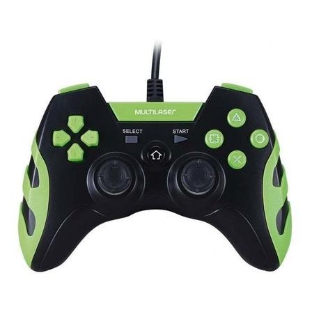 Controle joystick Multilaser JS091 preto/verde