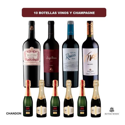 10 Botellas Vinos Y Champagne - Rutini Luigi Bosca Chandon