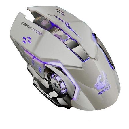 Mouse de juego inalámbrico recargable Free Wolf  X8 metal grey