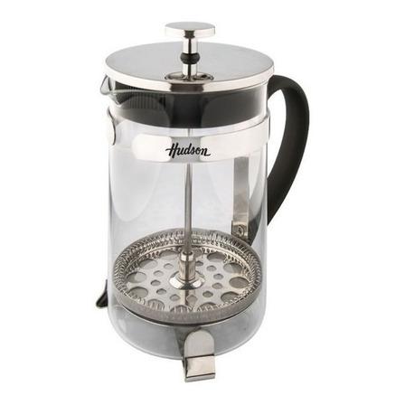 Cafetera Hudson Émbolo F-228-800 manual plata y negra prensa francesa