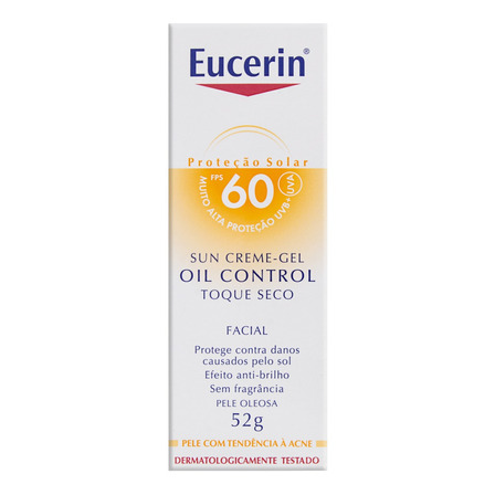 Protetor Solar Oil Control Gel-Creme Facial FPS 60 sem Fragrância Eucerin Caixa 52g