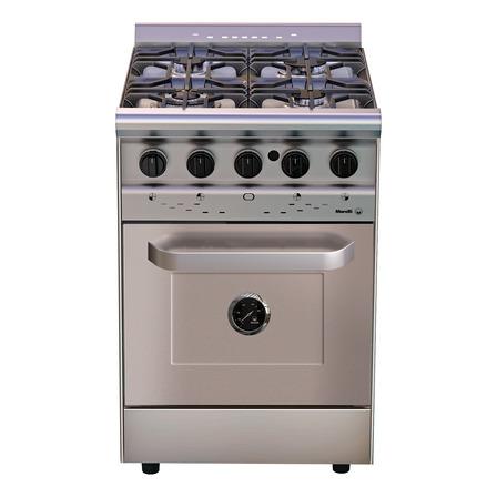 Cocina Morelli Country Forza 550 a gas/eléctrica 4 hornallas acero inoxidable 220V puerta ciega