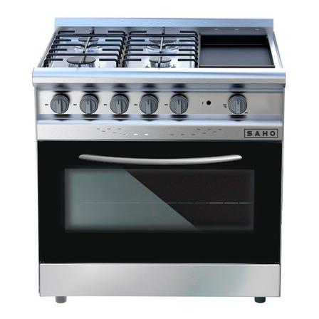 Cocina industrial Saho Jitaku Grill 820 a gas 4 hornallas plateada/negra puerta con visor