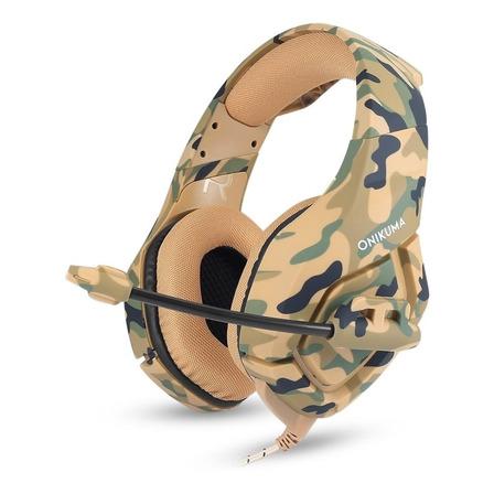 Fone de ouvido gamer Onikuma K1-B camouflage yellow