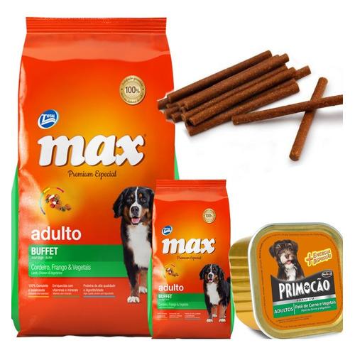 Max Buffet 20 Kg + 2 Kg Con Paté Premium 300 Grs Y Snacks