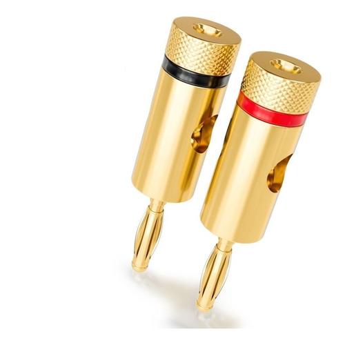 Conector Plug Banana Metalico Dorado