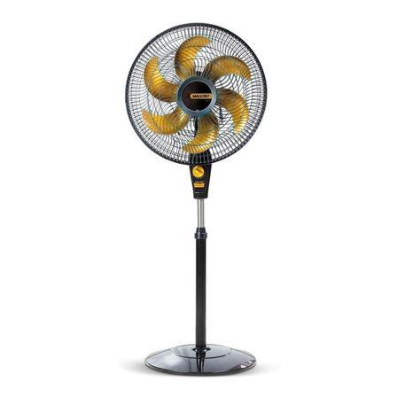Ventilador de coluna Mallory Delfos TS+ turbo  preto com 6 pás cor dourado de polipropileno, 40cm de diâmetro 127V
