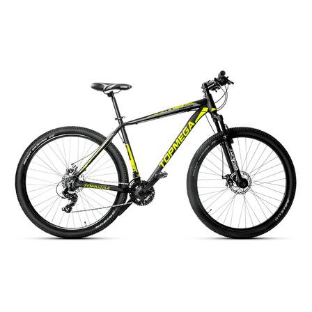 Mountain bike TopMega Sunshine R29 L 21v frenos de disco mecánico cambios Shimano Tourney TY300 color negro
