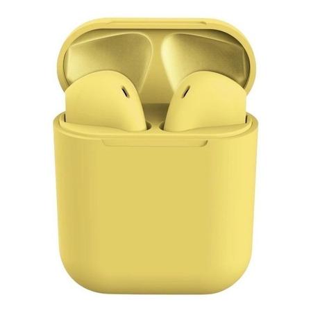 Fone de ouvido In-ear sem fio i12 TWS amarelo
