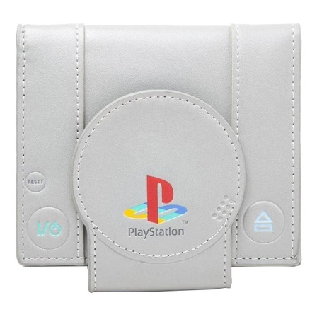 Billetera Bioworld PlayStation One grey poliéster y poliuretano