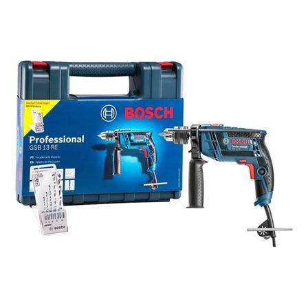 Furadeira elétrica de impacto e parafusadeira Bosch Professional GSB 13 RE 3150rpm 650W azul 127V com maleta de transporte + kit 5 brocas cyl-1