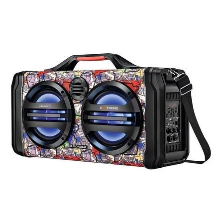 Alto-falante Mondial Multi Connect Thunder X Extreme portátil com bluetooth preto e laranja 110V/220V