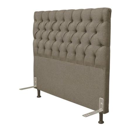 Cabeceira de cama box JS Móveis Cristal Casal 140cm x 126cm Linho bege
