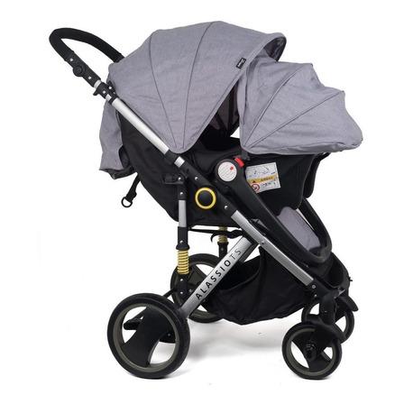 Cochecito de bebé Belluno Baby Alassio TS de paseo gris con chasis plateado