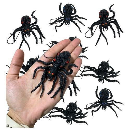 Kit Arañas X 10 Plástico Blando Halloween Decoración Araña