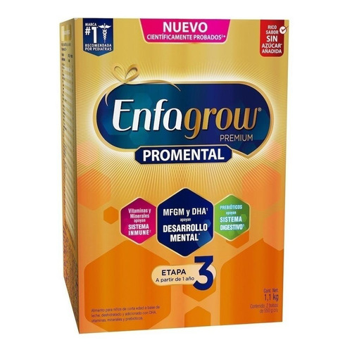 Fórmula infantil en polvo Mead Johnson Enfagrow Premium 3 natural  en caja 1.1kg por 6 u