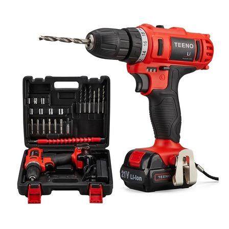 Taladro eléctrico  destornillador Teeno 5816-1 inalámbrico 1550rpm 50Hz/60Hz 55.5W rojo 100V/240V 21V