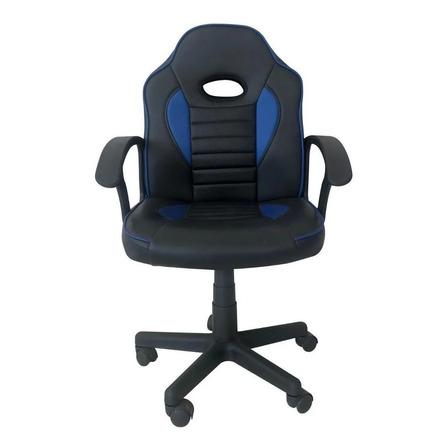 Silla de escritorio Tedge 435878 gamer ergonómica  negra y azul con tapizado de cuero sintético