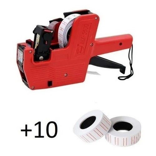Maquina Etiquetadora Roja Poner Precios + 10 Rollos Etiqueta