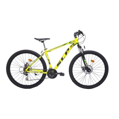 """Mountain bike SLP 5 Pro R29 18"""" 21v frenos de disco mecánico cambios SLP color amarillo con pie de apoyo"""