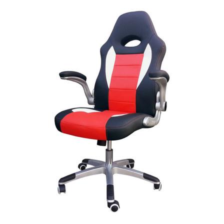 Silla de escritorio Desillas Pro Sonic gamer ergonómica  negra y roja con tapizado de cuero sintético