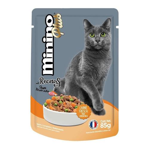 Alimento Minino Plus Recetas para gato adulto sabor pavo ahumado en sobre de 85g