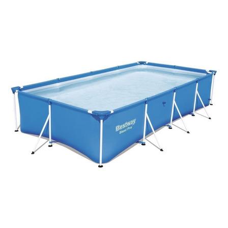 Alberca estructural rectangular Bestway 56405 con capacidad de 5700 litros de 4m de largo x 2.11m de ancho  azul