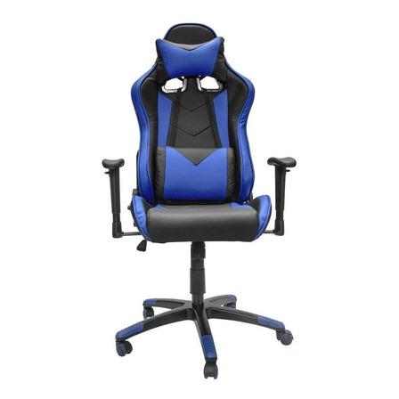 Silla de escritorio Top Living SILL14 gamer ergonómica  negra y azul con tapizado de cuero sintético