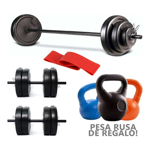 Barra + 2 Mancuernas + 24 Kg En Discos Con Manija Kit Set