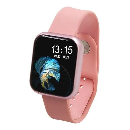 """Smartwatch Haiz T80 1.3"""" caixa de  aço inoxidável  rosa pulseira  rosa"""