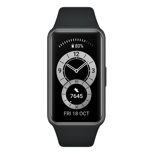 """Huawei Band 6 1.47"""" caja de  polímero  dark gray malla  graphite black de  silicona FRA-B19"""