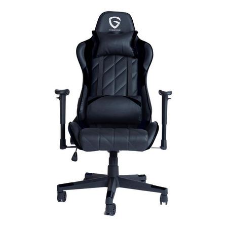 Silla de escritorio The Game House Pro gamer  negra con tapizado de cuero sintético
