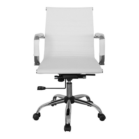 Silla de escritorio Para Tu Casa Aluminium Eames Bajo Pc ergonómica  blanca con tapizado de cuero sintético