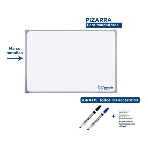 Pizarra Blanca 75x100 Borde Metal + 2 Marcadores