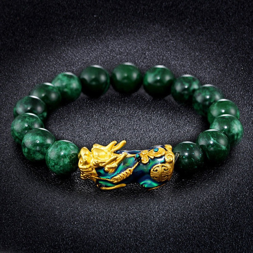 Pulseira Feng Shui Verde Obsidian Liga Riqueza Pixiu