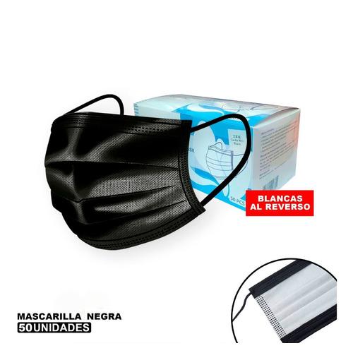 Caja De 50 Mascarillas Desechables 3 Pliegues Color Negro