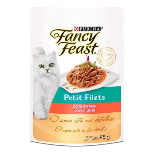 Alimento Fancy Feast Gourmet Petit Filets para gato adulto sabor carne en sobre de 85g