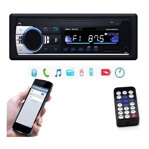 Radio Auto Universal Usb Bluetooth Control Memoria Microfono