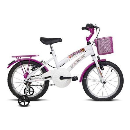 Bicicleta  infantil Verden Breeze aro 16 freios v-brakes cor branco/rosa com rodas de treinamento