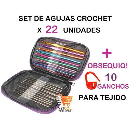 Kit De 22 Agujas Crochet Multicolor  Acero Inoxid + Obsequio