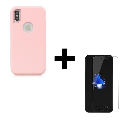 Protector Híbrido + Vidrio Templado iPhone 6 7 8p X Xr Xs M