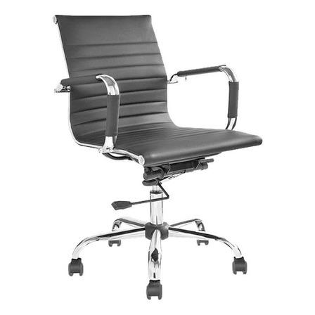 Silla de escritorio BallSellings Aluminium Bajo ergonómica  negra con tapizado de cuero sintético