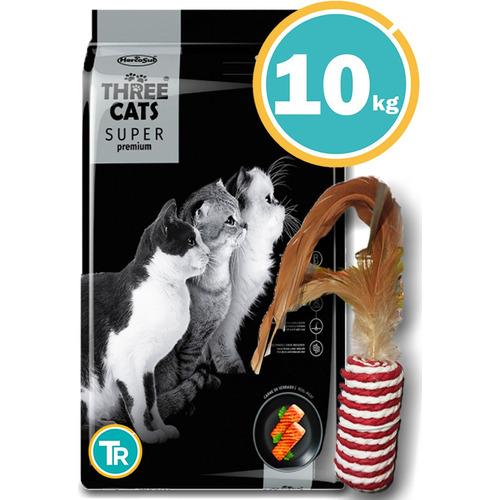 Three Cats  Gatos Premium Castrados Salmón 10 Kg + Obsequio