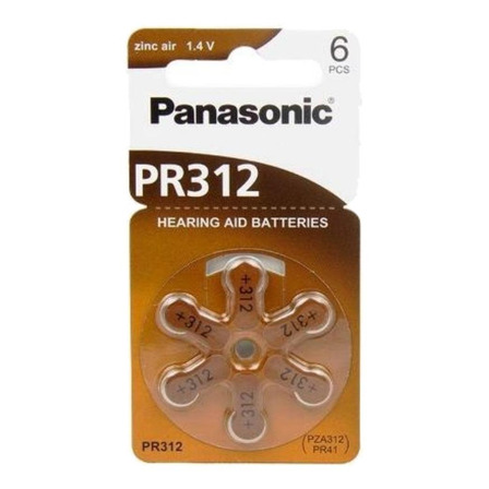 Pila 312 Panasonic Zinc Air PR312 Botón - Pack de 6 unidades