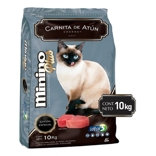 Alimento Minino Plus Sabor Carnitas De Atún 10kg Para Gatos