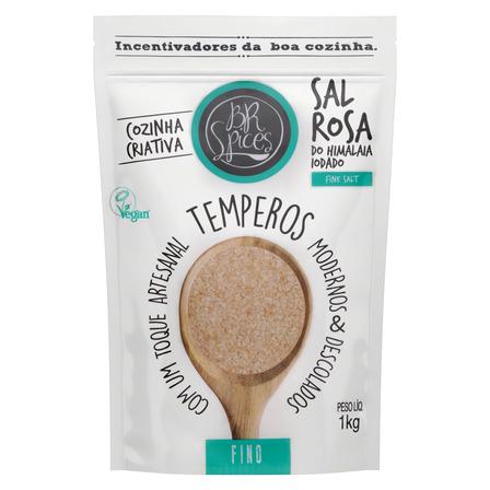 Sal rosa do himalaia fina BR Spices Fine Salt em pouch sem glúten 1kg