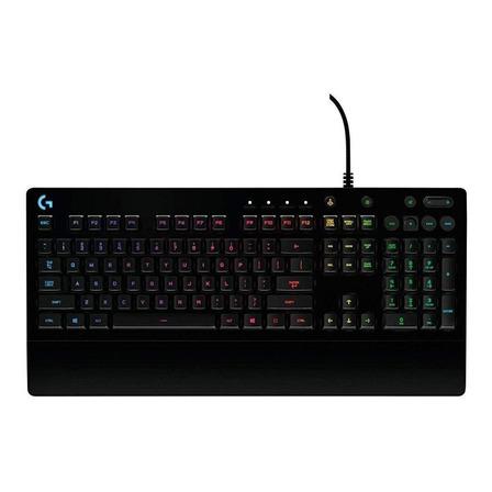 Teclado gamer Logitech Serie G Prodigy G213 QWERTY inglés internacional color negro con luz RGB