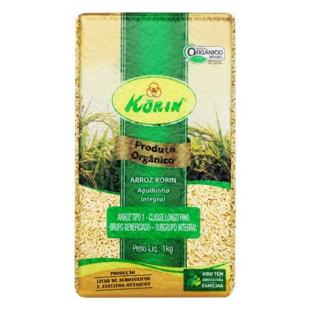 Arroz Agulhinha Tipo 1 Integral Orgânico Korin Pacote 1kg Korin