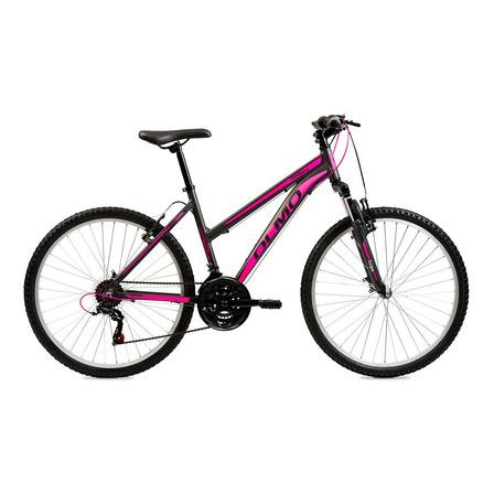 "Mountain bike femenina Olmo Wish 265 R26 18"" 21v frenos v-brakes cambios Shimano Tourney TY300 color negro/fucsia"